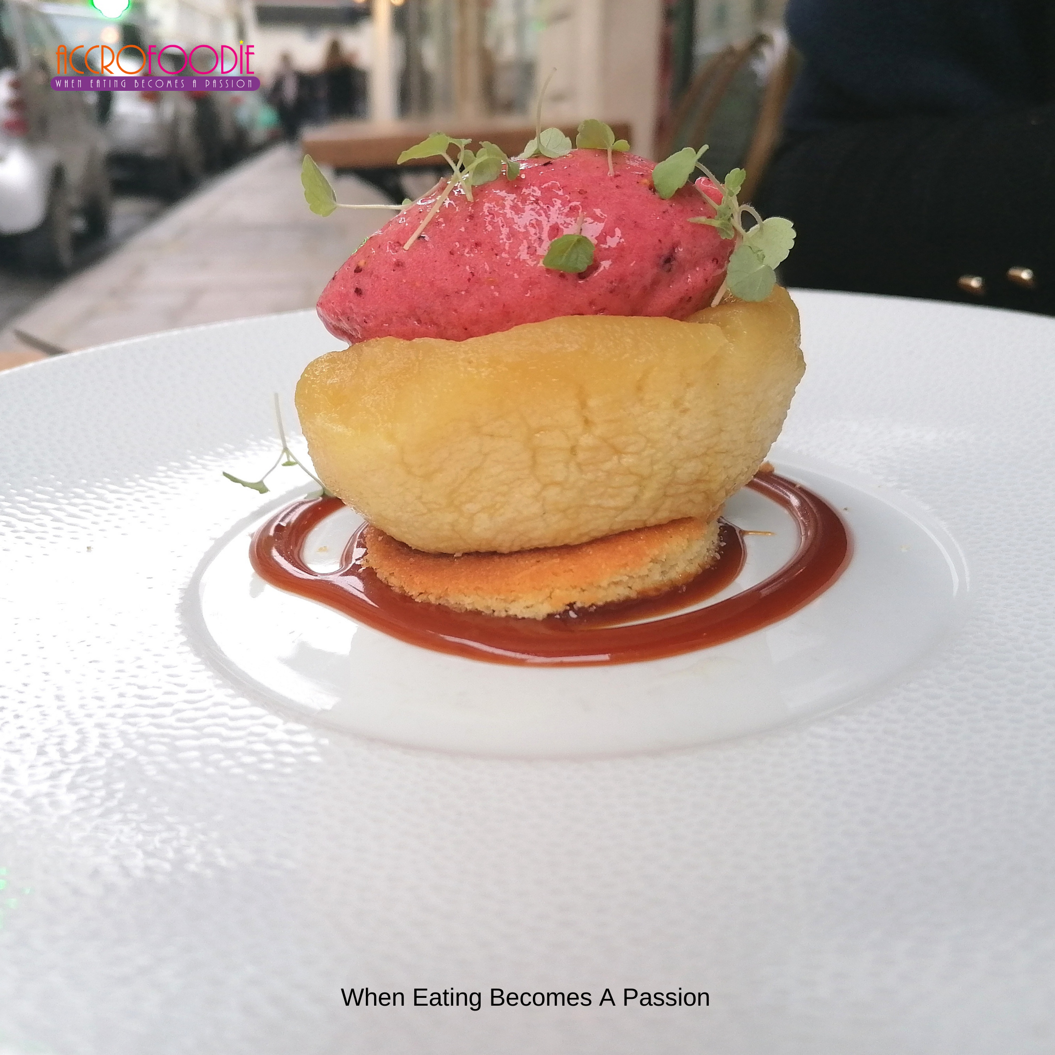 Pomme Tatin sablé breton et son sorbet fraise (un régal fondant)